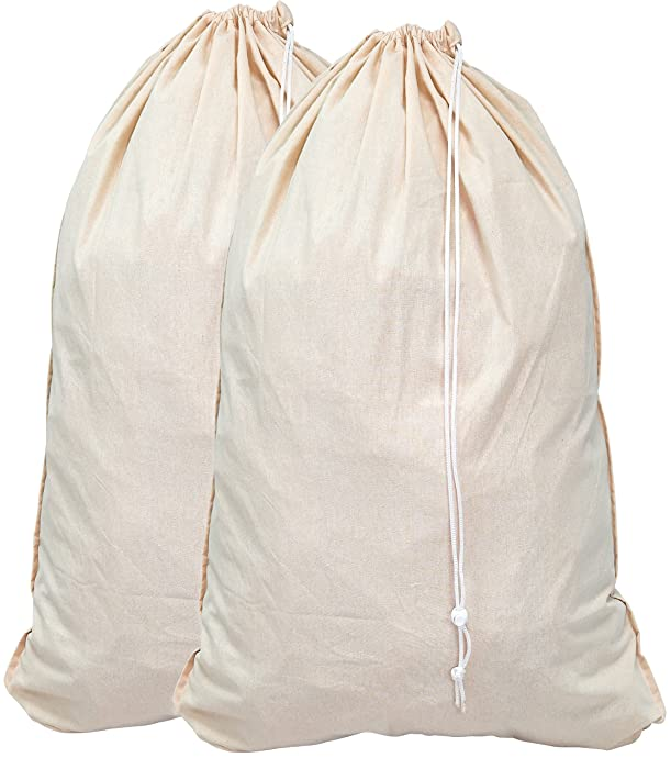"Simple Houseware 2 Pack - Extra Large Natural Cotton Laundry Bag, Beige (28"" x 36"")"