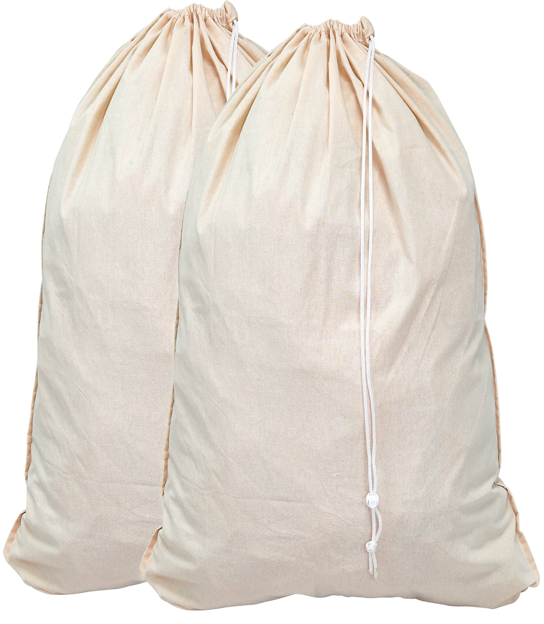 Simple Houseware 2 Pack - Extra Large Natural Cotton Laundry Bag, Beige (28'' x 36'')