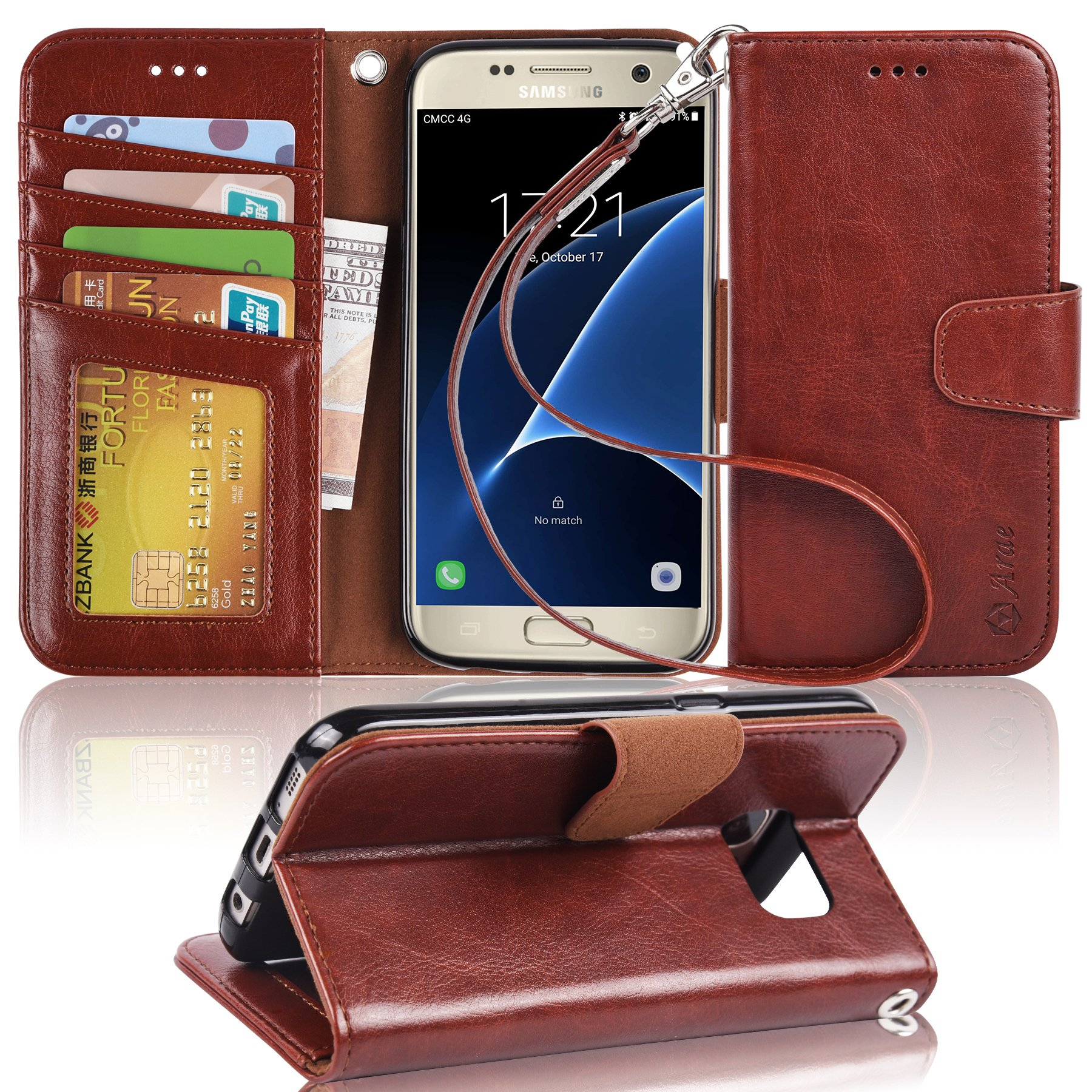 Arae Galaxy s7 Case, [Wrist Strap] Flip Folio [Kickstand Feature] PU leather wallet case with ID&Credit Card Pockets For Samsung Galaxy S7 (brown)