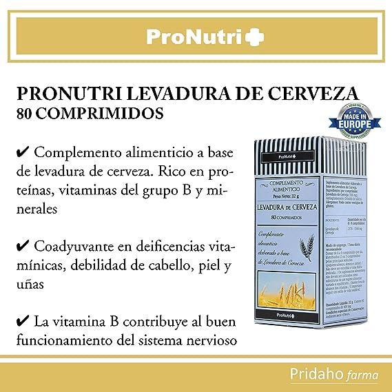 PRONUTRI - PRONUTRI Levadura de Cerveza 80 comprimidos: Amazon.es ...