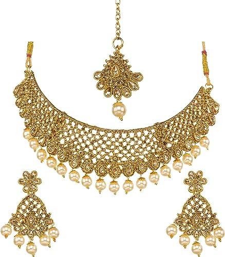Indian Bollywood Wedding Gold Plated Kundan Pearl Bridal Necklace Tikka Earring