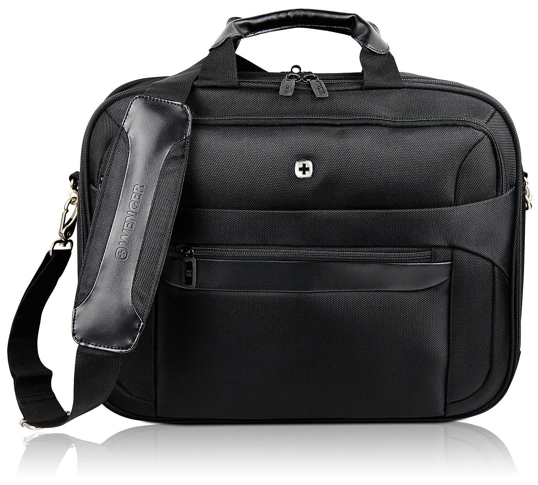WENGER Premium 16 Businesstasche für Damen und Herren | Aktentasche mit gepolstertem Laptopfach | Schultertasche Schwarz mit Grauem Innenfutter