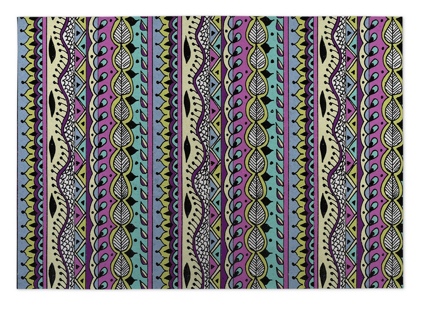 KAVKA Designs Color Dance Indoor-Outdoor Floor Mat, (Blue/Pink/Purple/Yellow) - , Size: 96x120x0.2 - (PLUAVC110FM810)