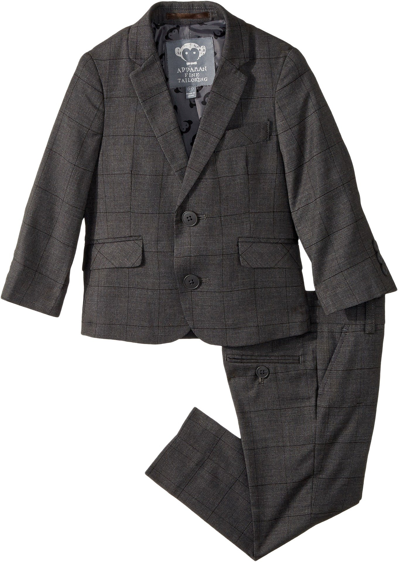 Appaman Kids Baby Boy's Two-Piece Mod Suit (Toddler/Little Kids/Big Kids) Charcoal Wales Check 2T