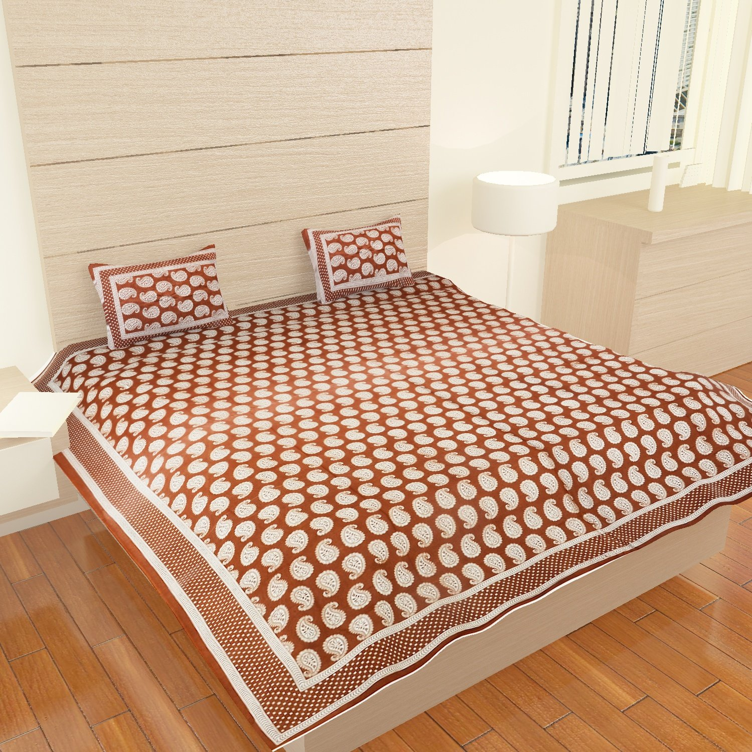 Amazon.com: Traditional Mafia Luxury Collection Printed Double Bed Sheet Set  With 2 Pillow Covers, King Size, Bronze: Home U0026 Kitchen
