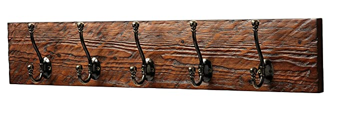 Best Amazon.com: Rustic Style 5-Hook Wooden Coat Rack, Distressed Dark  MD57