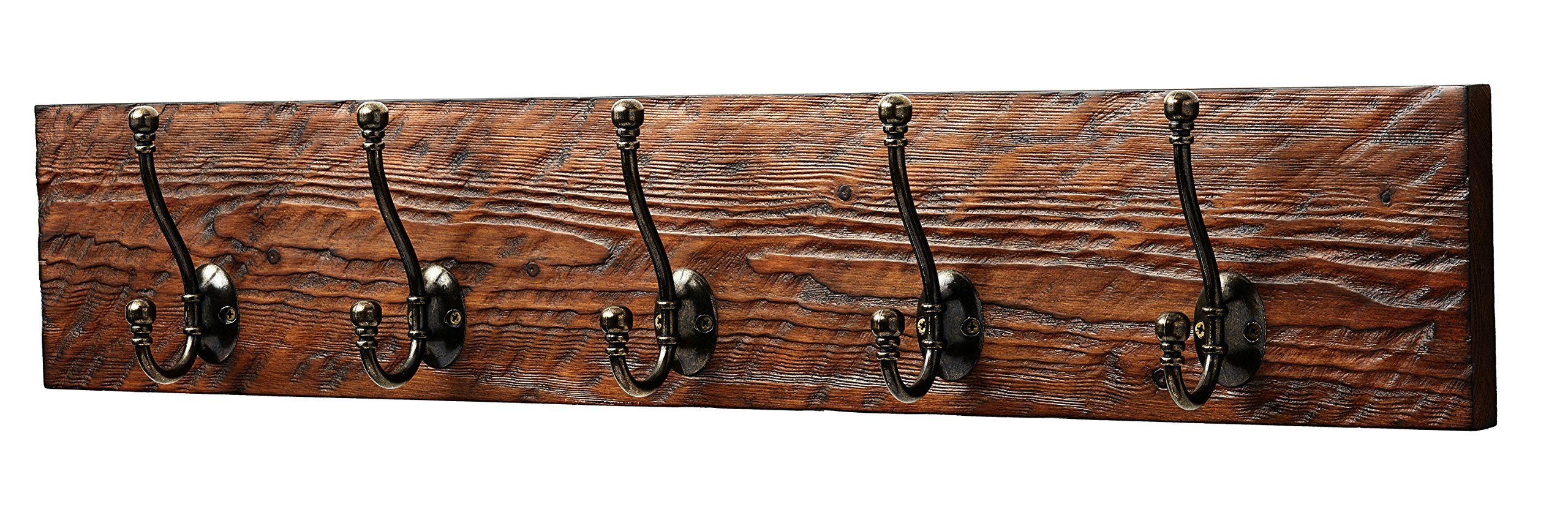 Rustic Style 5-Hook Wooden Coat Rack, Distressed Dark Brown with Aged Brass Hooks, Solid Wood, Wall Mounted, Vintage Entryway Coat Rack, Large, 30'' x 5.5''