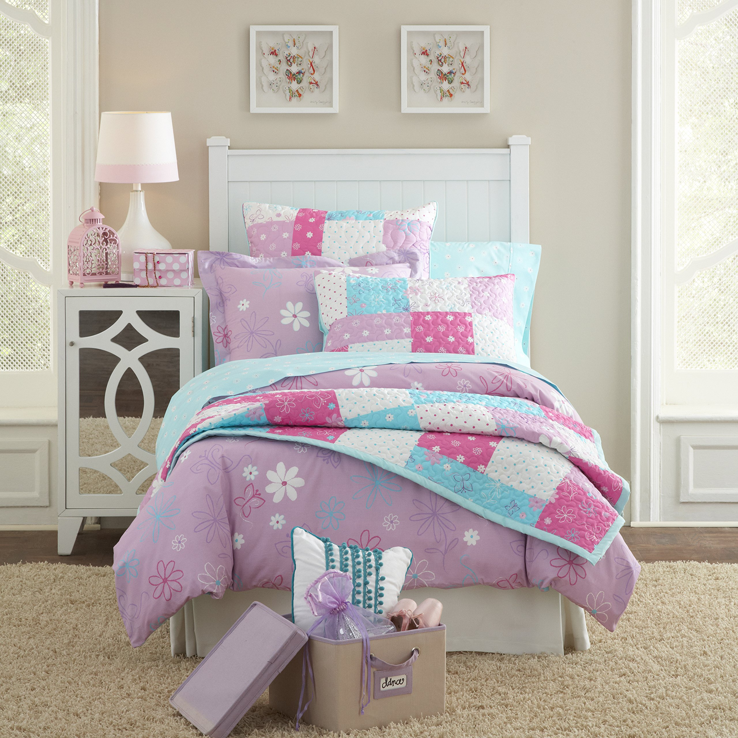 Lullaby Bedding 200QL-FQBFLY 3 Piece Butterfly Garden Cotton Printed Quilt Set, Full/Queen