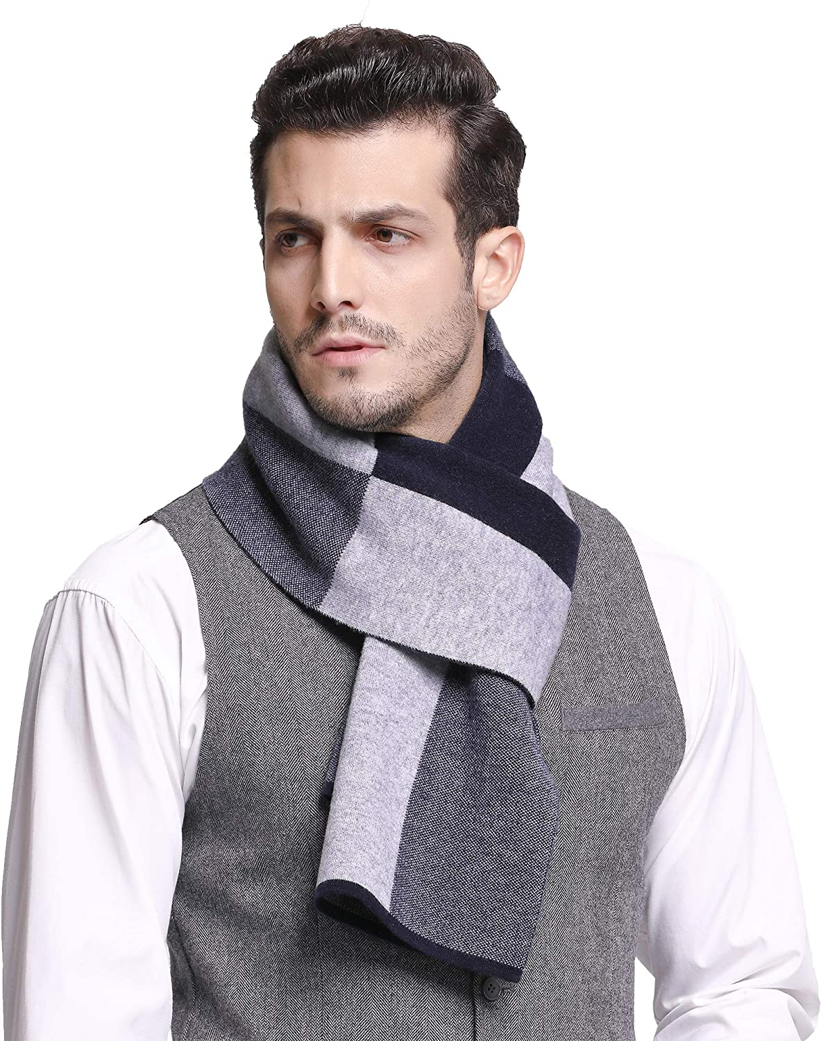 RIONA Men's 100% Australian Soft Merino Wool Knitted Plaid Warm Scarf with Gift Box (9201_Black) RIW9201Black