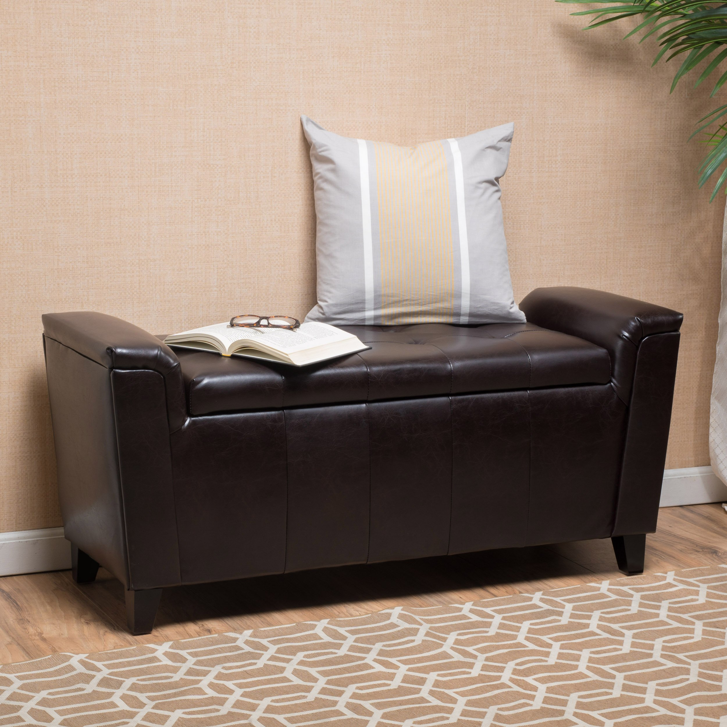 James Brown Tufted Leather Armed Storage Ottoman Bench