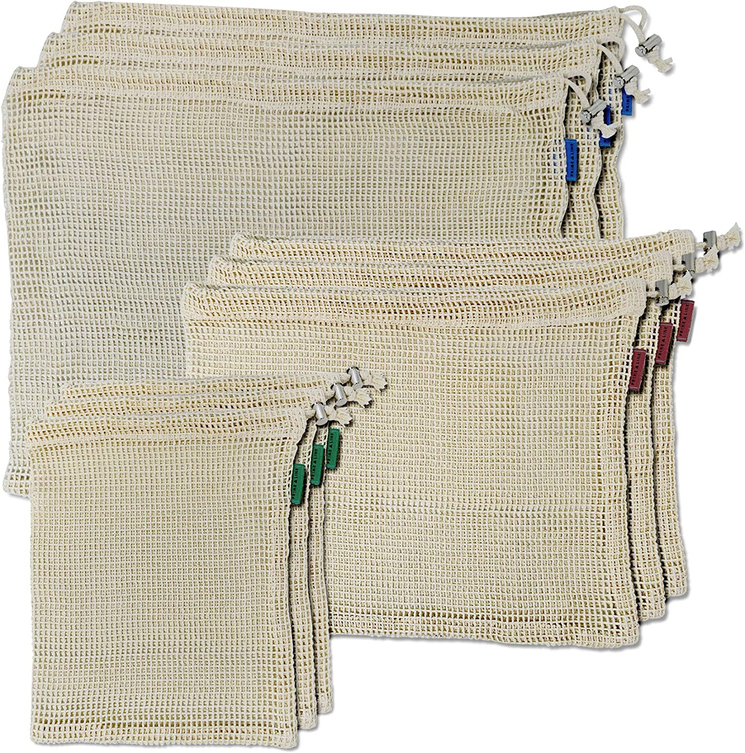 Cotton Net Produce Bags With Tare Weights, Grocery Bags Certified Organic GOTS Cotton, Cotton Mesh Bags With Color Coded Labels In Assorted Sizes, Zero Waste Bags – 9 Pcs.