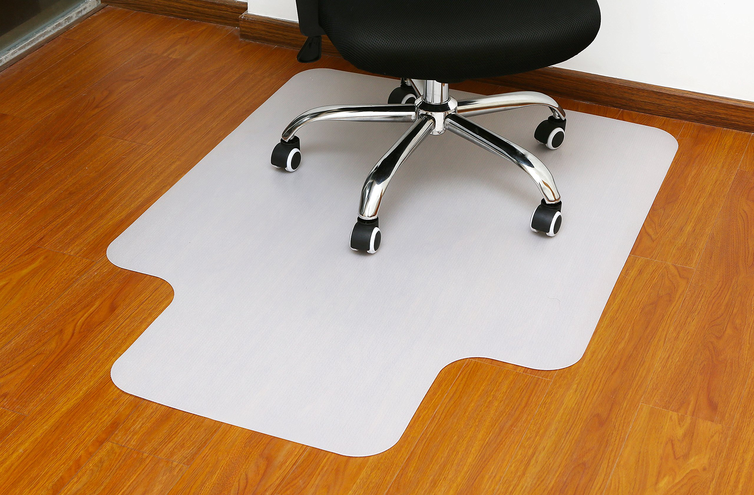 Polytene Office Chair Mat 48''x36''Hard Floor Protection with Lip Anti Slide Coating on The Underside,White