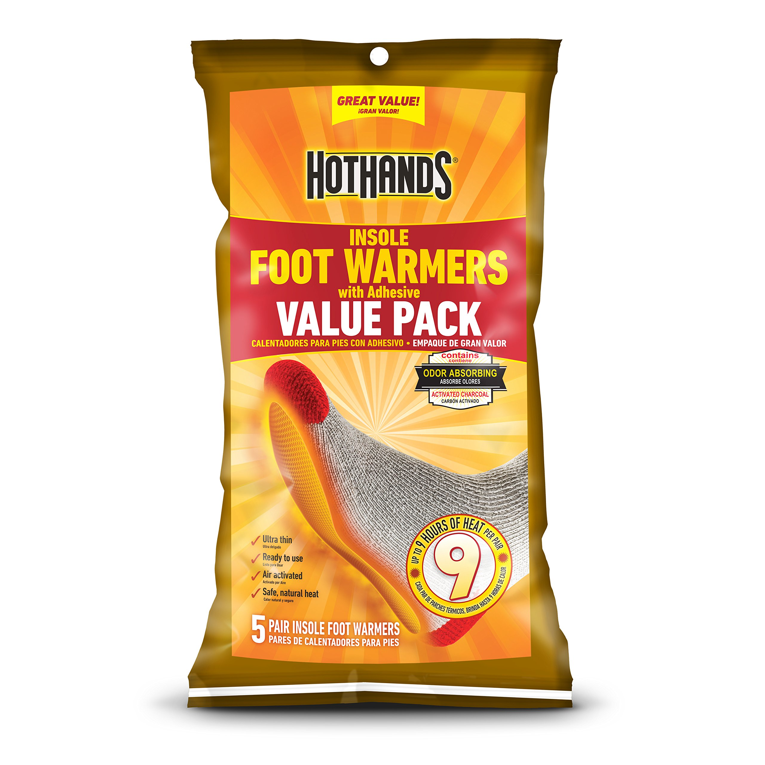 HotHands Insole Foot Warmers With Adhesive Value Pack (5-Pairs) by HotHands