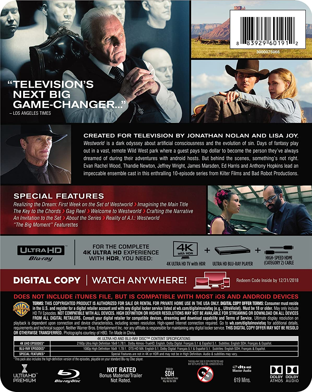 amazon com westworld the complete first season 4k ultra hd bd