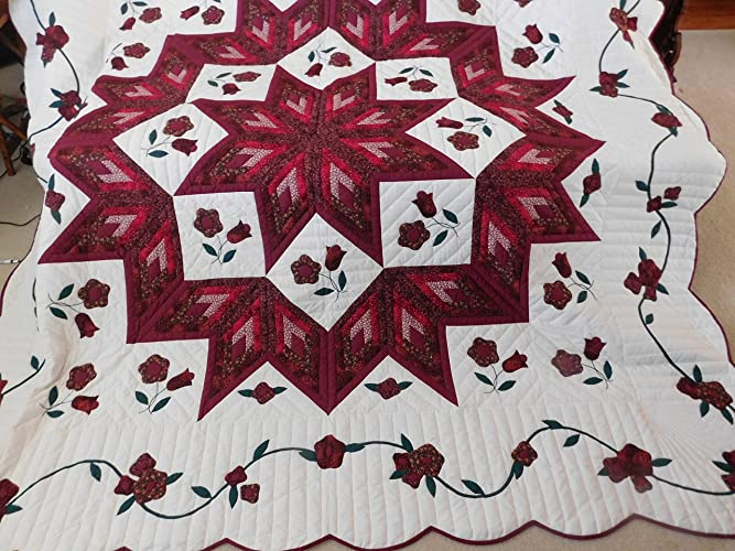 Amazon queen size amish made patchwork with applique