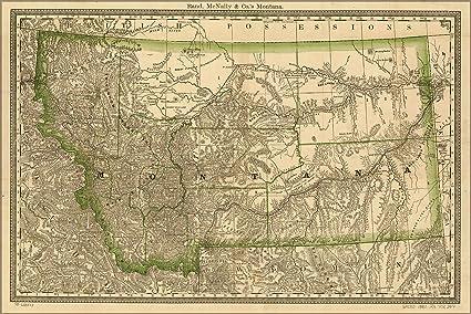 Amazon Com 24x36 Poster County Map Of Montana 1881 Antique