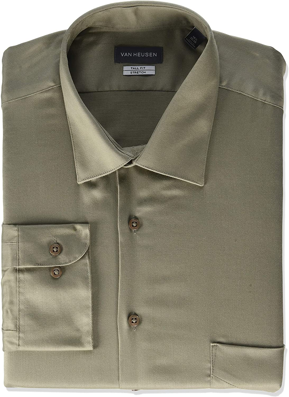 Van Heusen Men's BIG FIT Dress Shirts Sateen New Mesa Mall color Lux Stretch Solid