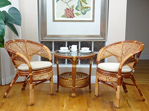 Pelangi Rattan Wicker 3 Pieces Set of 2 Chairs W Cushions and Round Coffee Table W Glass Colonial Light Brown Color