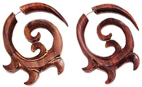 Falso dilatador de oreja de madera, diseño en espiral étnico ...