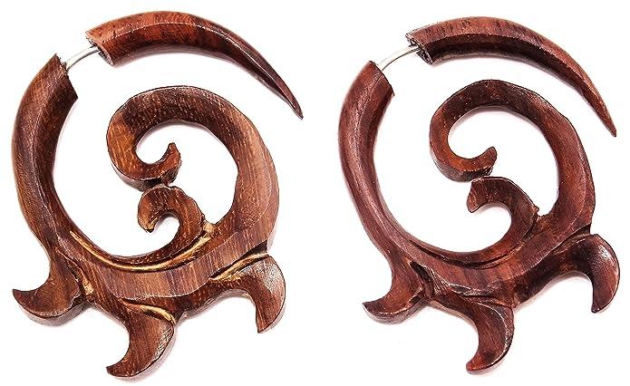 Falso dilatador de oreja de madera, diseño en espiral étnico, un par, color marrón: Amazon.es: Joyería