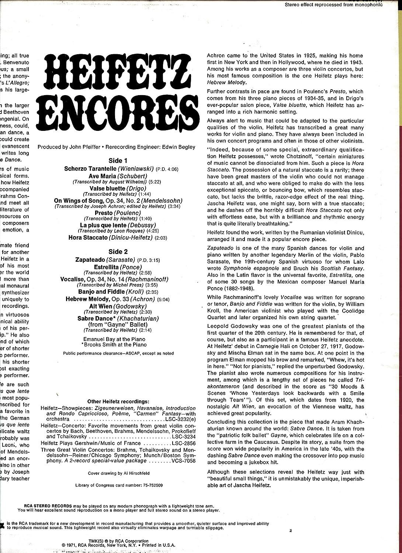 Amazon.com : JASCHA HEIFETZ Heifetz Encores LP RCA LSC-3233 stereo SHRINK vinyl record album : Everything Else