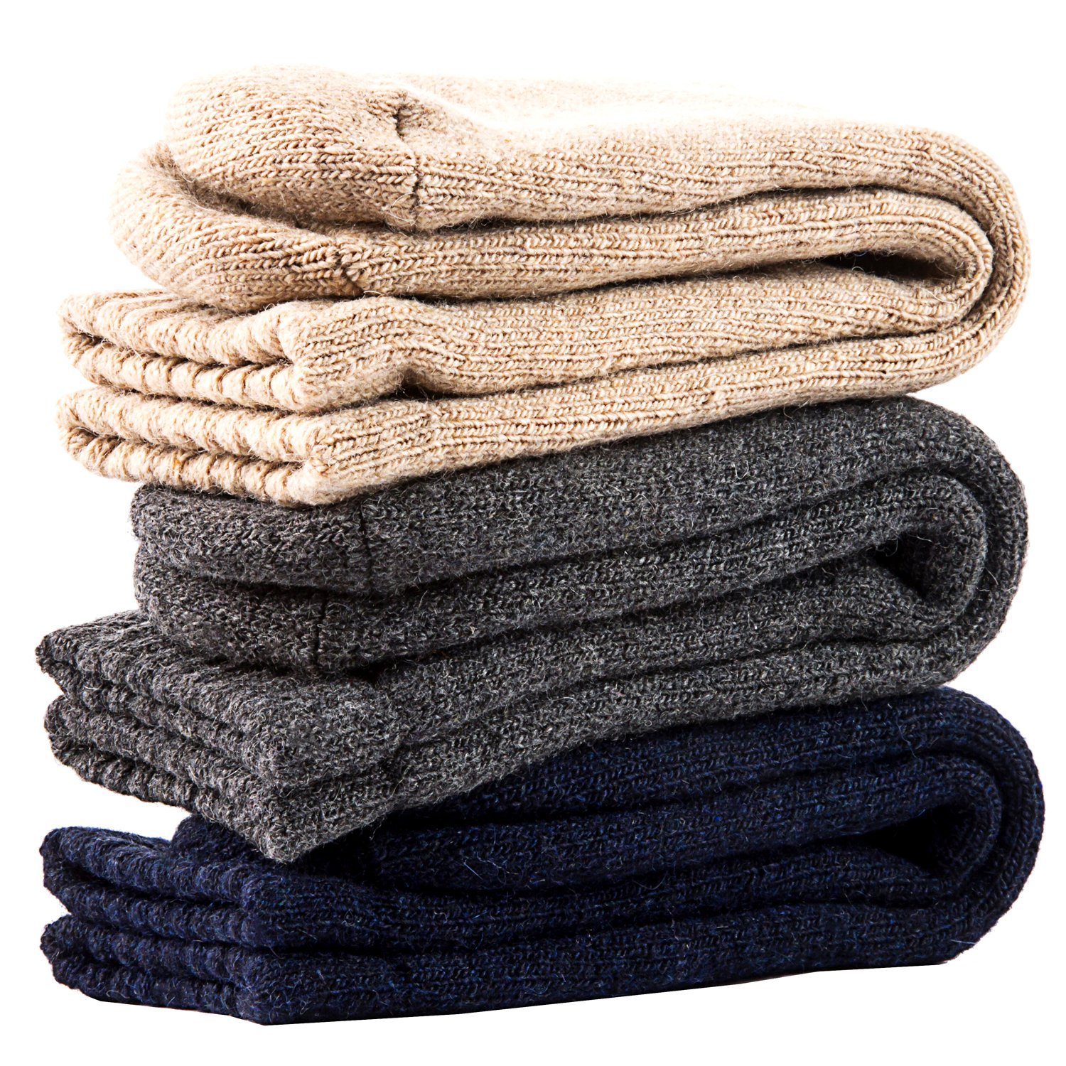Lian LifeStyle Mens 4 Pairs Extra Thick Wool Socks Solid Size 7-11