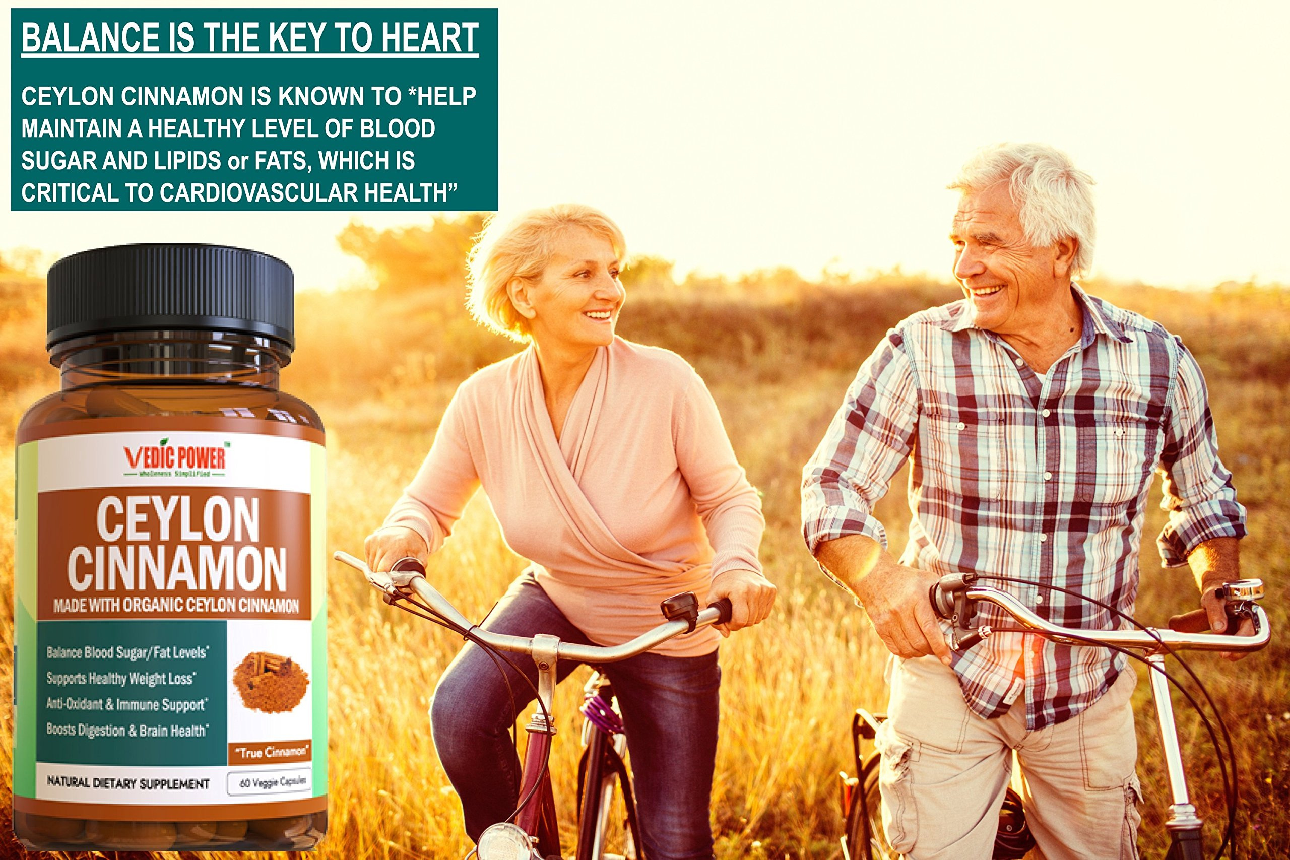 Organic Ceylon Cinnamon (UDAF Certified) 60 Capsules, 1200 mg per Serving Helps Manage Blood Sugar/Fat Levels, Boosts Heart Health, Anti-Oxidant & Immune Support by Vedic Power (TM) Wholeness Simplified (Image #5)