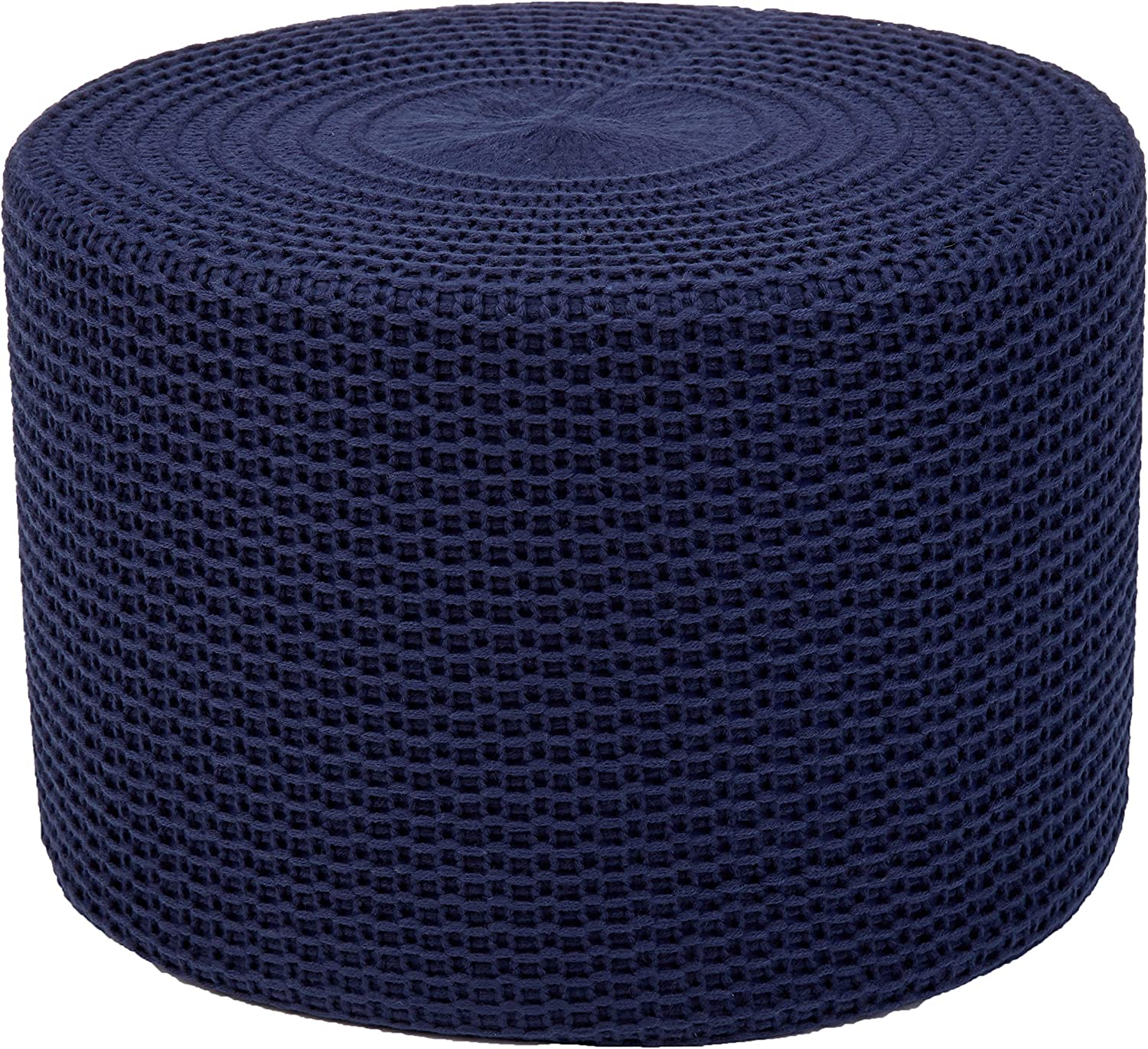 AmazonBasics Knit Foam Floor Pouf Ottoman, Navy