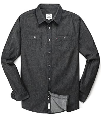 78bb921c Men's Long Sleeve Denim Solid Double-Pocket Shirt Black Small ...