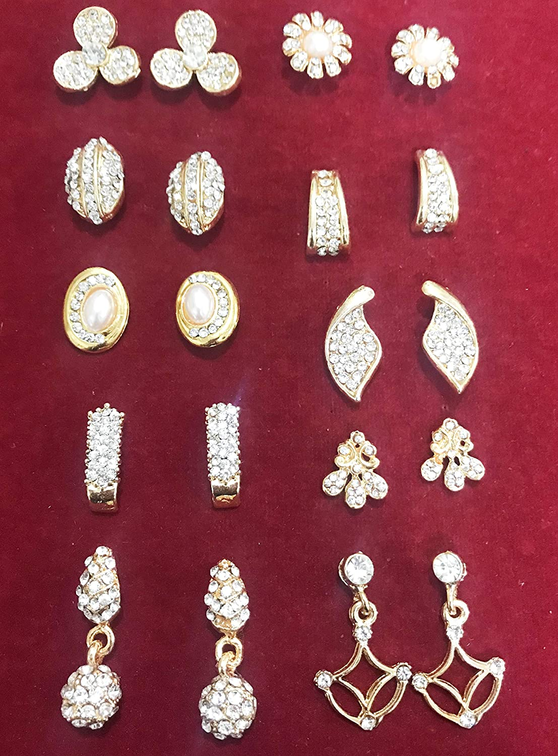 Touchstone Rhinestones Faux Pearls Soulful And Stunning Combo Of Individually Different Pairs Earrings In Gold Tone For Women NEW