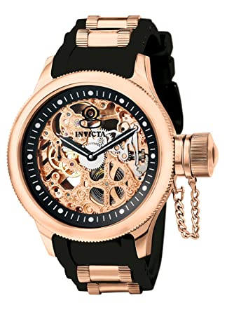 amazon com invicta men s 1090 russian diver rose gold tone invicta men s 1090 russian diver rose gold tone stainless steel skeleton watch