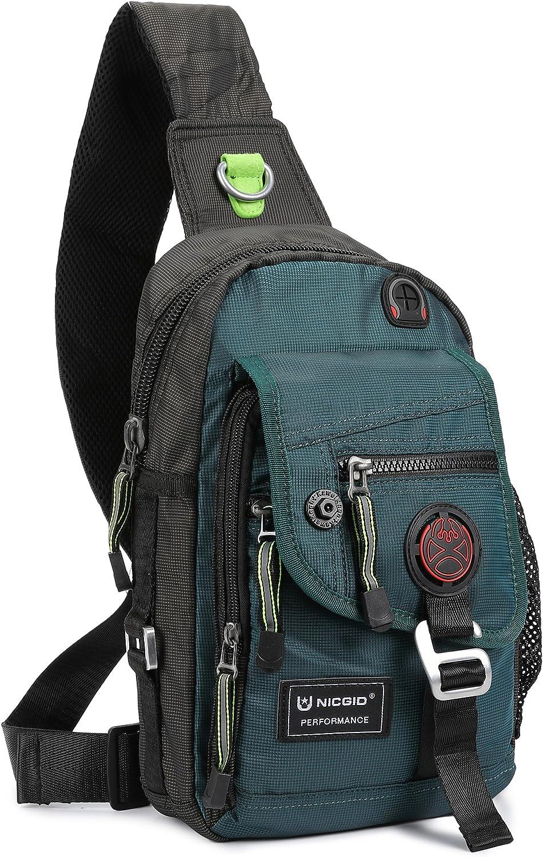 Nicgid Sling Bag Chest Shoulder Backpack Crossbody Bags for iPad Tablet Outdoor Hiking Men Women
