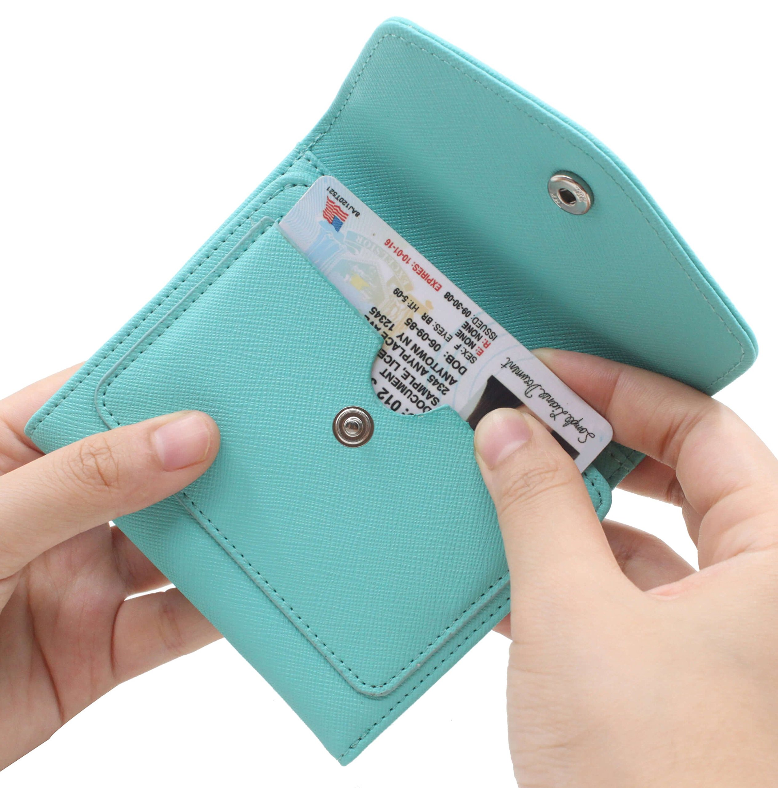 Women's RFID Blocking Small Credit Card Holder Wallets Leather Pocket Mini Purse