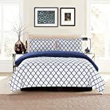 Lux Decor Collection Duvet Cover Set, 1800 Count Soft Egyptian Quality Hotel Luxury Queen Premium Bedding Duvet Cover, 3 Piece Luxury Soft, 2 Pillow Shams (Full/Queen, White/Blue)