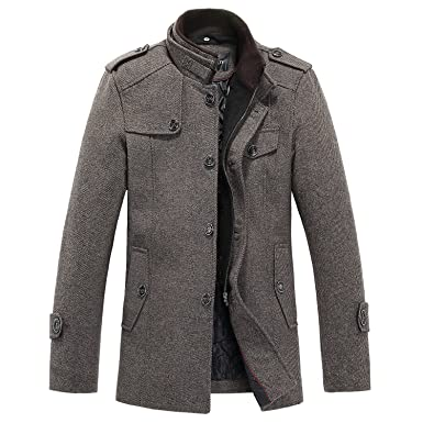 Sulandy @ Men's Winter Warm Soft Wool Blend Pea Coats Slim Fit¡ at