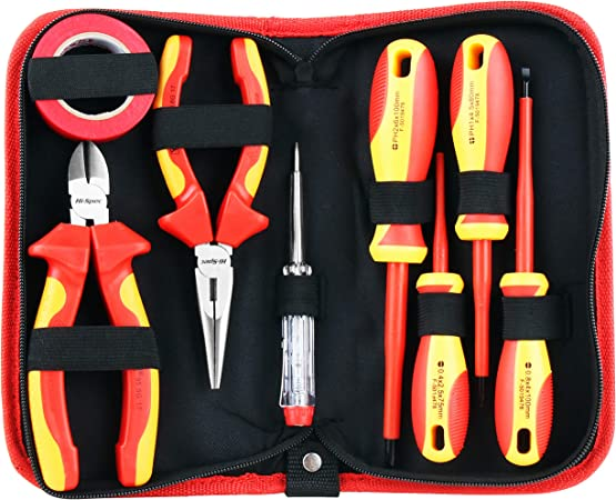 8pc Insulated Electricains Screwdriver Set Tool Kit Voltage Tester Storage Case
