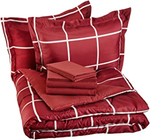 AmazonBasics 7-Piece Bed-In-A-Bag, Full / Queen Bedding Comforter Sheet Set, Burgundy Simple Plaid, Microfiber, Ultra-Soft