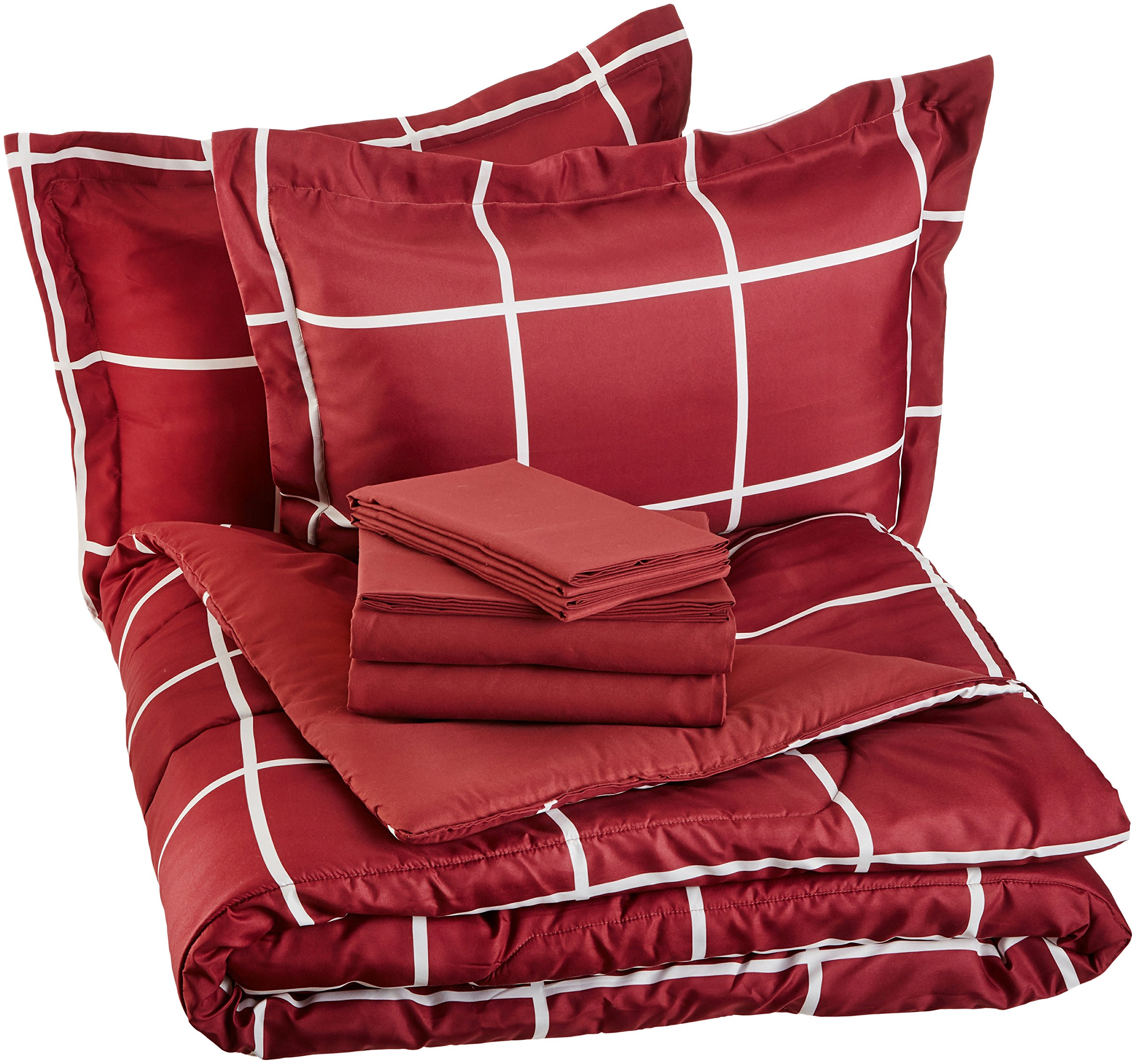 AmazonBasics 7-Piece Bed-In-A-Bag - Full/Queen, Burgundy Simple Plaid