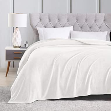 EXQ Home Fleece Blanket Queen Size White Throw Blanket for Bed or Couch - Super Soft Microfiber Fuzzy Flannel Blanket for Adults or Pet (Lightweight,Non Shedding)