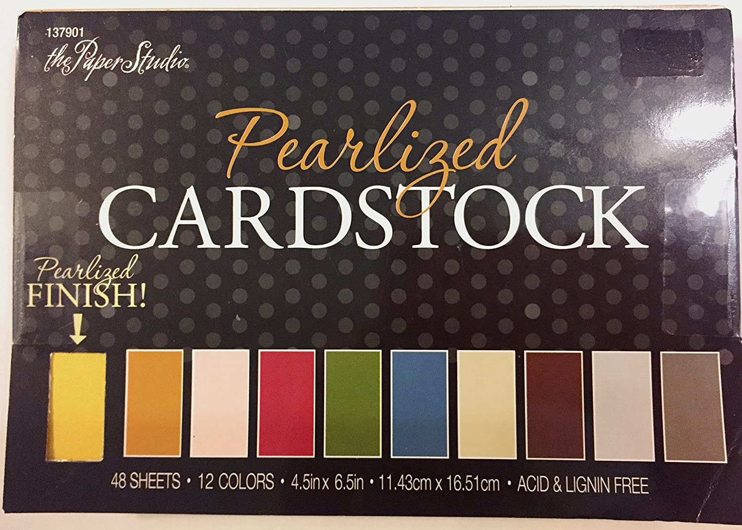 Pearlized Cardstock Paper Pack 4.5x6.5 inches, 48 Sheets in 12 Colors The Paper Studio 137901