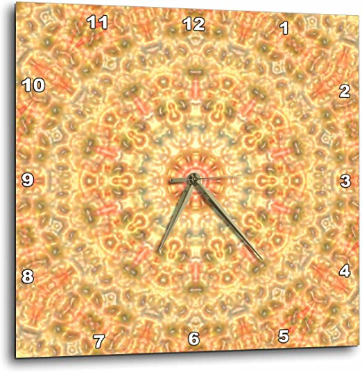 3dRose dpp/_60682/_1 Photo of Gold Paisley Design Wall Clock 10 by 10-Inch