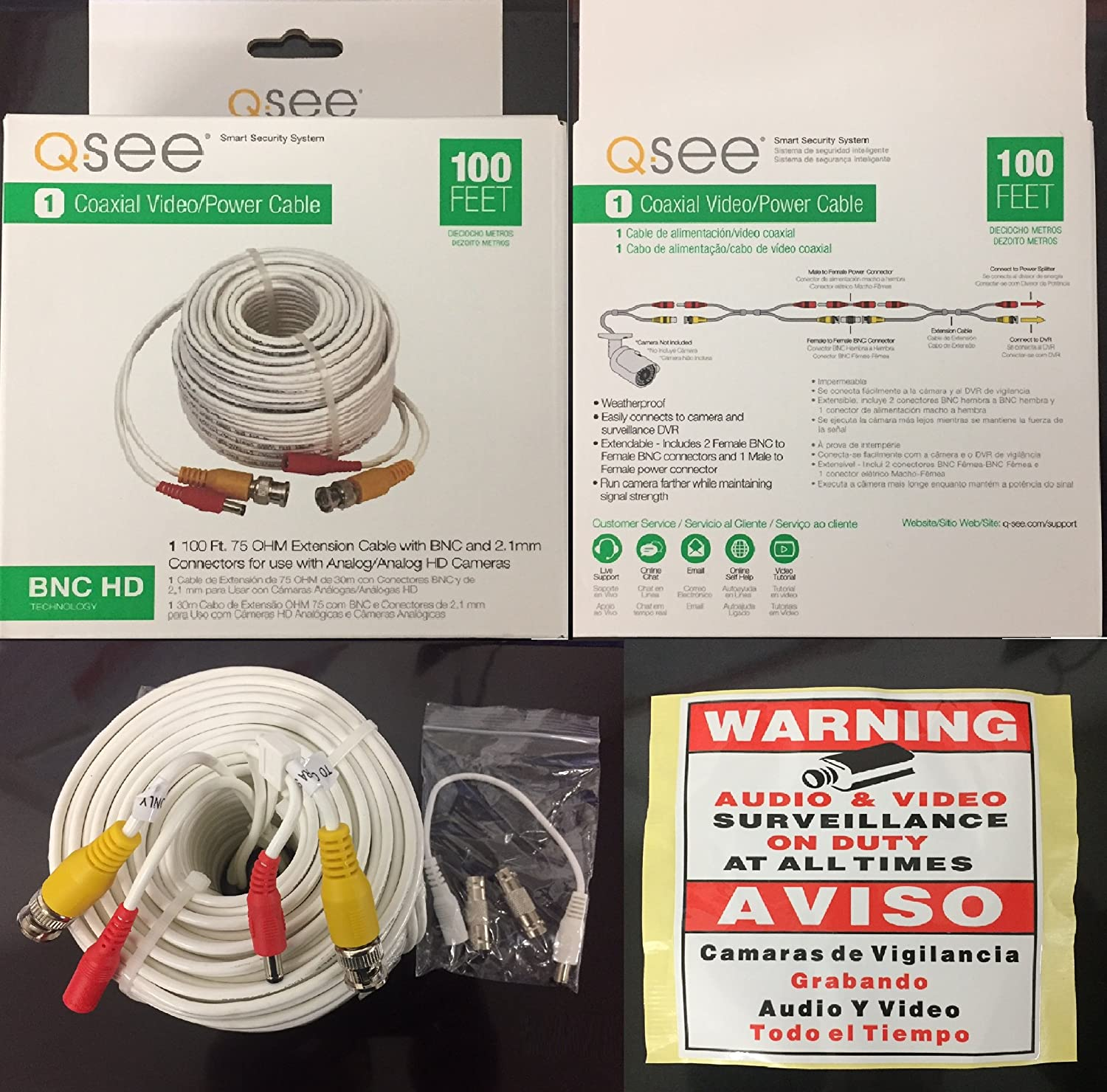 Amazon.com : Q-See Original Video and Power 100-Foot HD BNC Male Cable with 2 Female Connectors : Camera & Photo