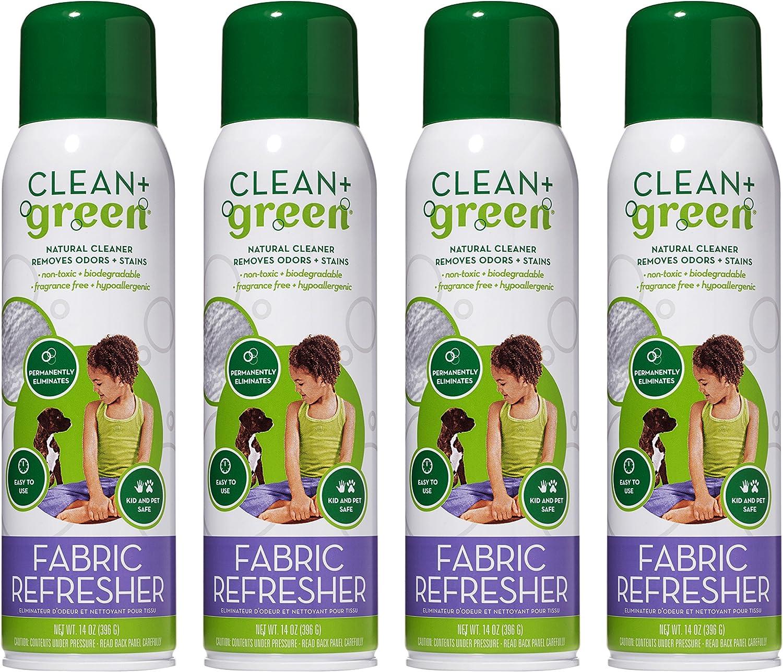 CLEAN+GREEN Natural no tóxico Tela de actualización, quitamanchas, los olores, Olor Eliminator, Multi Purpose Natural no tóxico Limpiador en Spray (14 oz): Amazon.es: Hogar