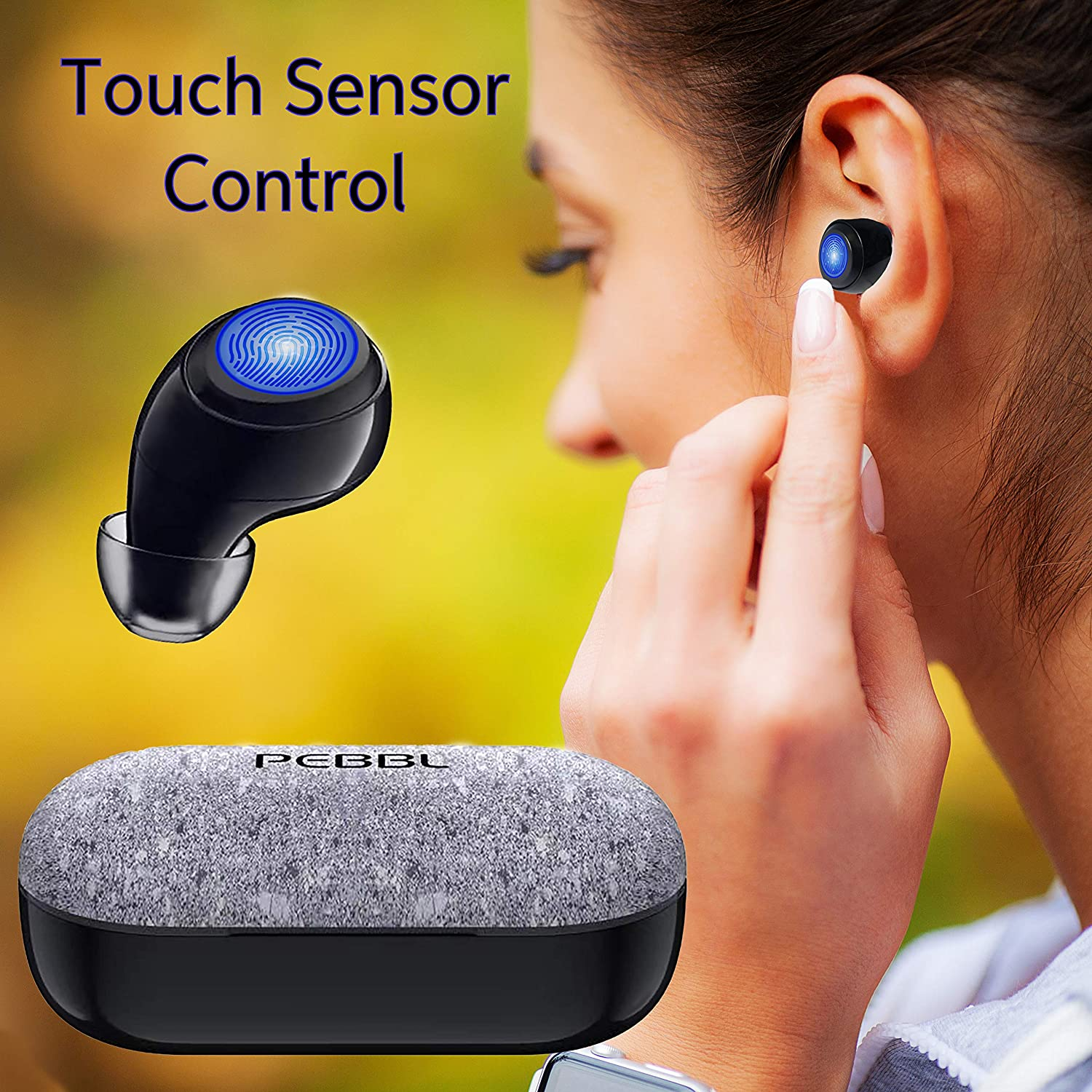 PEBBL True Wireless Earbuds Bluetooth 5.0 Noise Cancelling Earphones with Touch Sensor Controls
