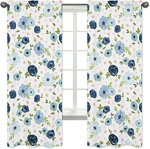 Sweet Jojo Designs Navy Blue and Pink Watercolor Floral Window Treatment Panels Curtain