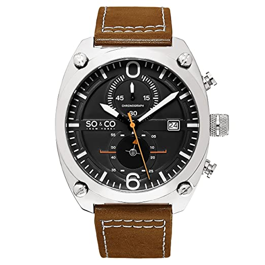 So & Co New York Hombre Aviator Style reloj cronógrafo, esfera de color negro,
