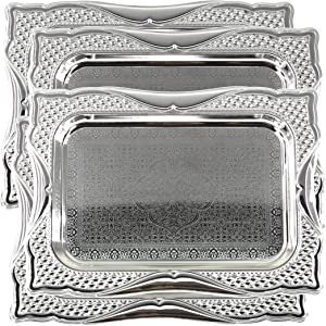 Maro Megastore (Pack of 4) 14.2 Inch x 10.2 Inch Rectangular Chrome Plated Mirror Serving Tray Stylish Floral Engraved Decorative Party Birthday Wedding Dessert Buffet Wine Decor Platter Plate CC-895