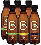 B-tea Kombucha Raw Organic Tea, Only 2g of Sugar, Probiotics & Prebiotic, Kosher, Original, Green Tea, Lemon Balm, 8 oz, 6 Piece