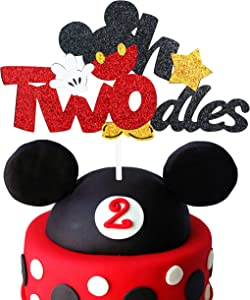 Glitter Twodles Cake Topper, Mickey Birthday Cake Decor boy Second Birthday Party Supplies