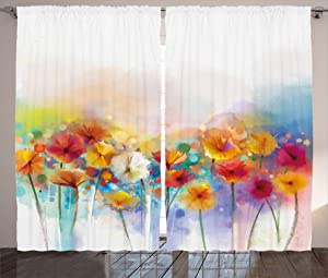 Ambesonne Flower Curtains, Gerbera Bouquet Textured in an Artisan Expression Inflorescence Morph New Paint, Living Room Bedroom Window Drapes 2 Panel Set, 108
